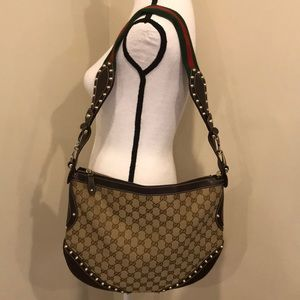 Gucci GG Horsebit Studded Hobo Bag Handbag Purse